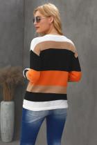 Orange Colorblock Strickpullover