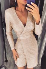 Apricot Deep V Neck Long Sleeve Metallic Mini Dress