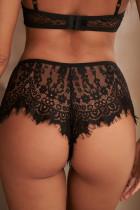 Black Lace Patchwork Eyelash Trim Panty
