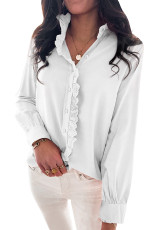 White Solid Color Lace Frilled Trims Long Sleeve Shirt