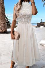 Beyaz Yüksek Yaka Kolsuz Tığ Dantel Örgü Astarlı Abiye Elbise