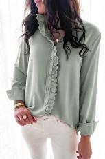 Egyszínű, csipkével díszített, hosszú ujjú ing