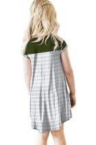 Vihreä Colorblock Patchwork raidallinen tyttöjen mekko