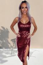Wine Red Sequin Side Slit Cami Φόρεμα
