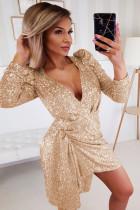 Gold Sequin Deep V Neck Long Sleeve Mini Dress