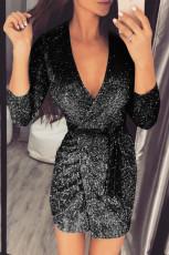 Deep V Neck Long Sleeve Metallic Mini Dress