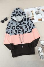 Plus Size Leopard Colorblock Splicing Bluza z Kieszeni