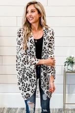 Otevřený přední svetr s leopardím potiskem