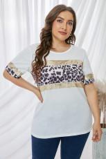 Sequin Leopard Accent Plus Size T-shirt