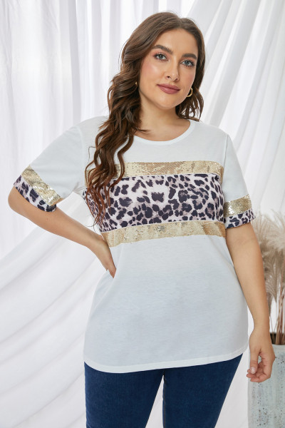 Pailletten Leopard Accent Plus Size T-Shirt