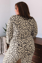 Leopard Plus Size V Neck Top och Sweatpants Lounge Set