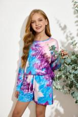 Violetti pikkutyttö pitkähihainen villapaita ja kiristysnauha