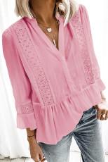 Růžová krajková košile s výstřihem do 3/4 rukávu s výstřihem do V