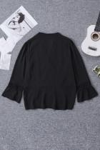 Černá krajková košile s výstřihem do 3/4 rukávu s výstřihem do V