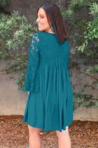 Sky Blue Plus Size Flare Sleeve Lace Plissee Minikleid