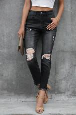 Černé zoufalé džínové knoflíky se středním pasem