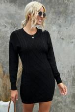 Svart geometrisk struktur Bodycon tröja klänning