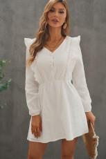 Beyaz V Yaka Dantel Fırfır Krinkled Puf Uzun Kollu Mini Elbise