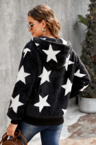 Czarny polarowy płaszcz z nadrukiem w gwiazdki i kieszeniami