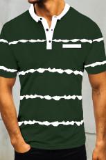Vihreä raidallinen miesten t-paita