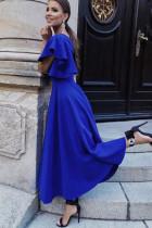 Sininen V -kaula -aukko Rypytetty hihat Flare Pitkä mekko