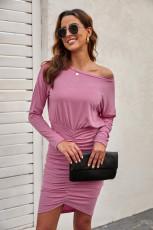 Rosa Crewneck långärmad Shirred Split Bodycon klänning