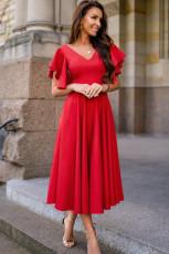 Punainen V -kaula -aukko Rypytetty hihat Flare Pitkä mekko