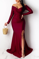 Wine Red Off Shoulder Side Split Bodycon balklänning