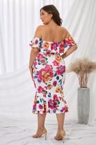 Weiß Schulterfreies Floral Mermaid Plus Size Dress