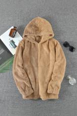 Brun Colorblock Fleece -huvtröja för män