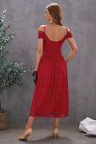 Röd kall axel rygglös spets midiklänning