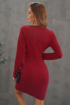Röd Surpliced V-ringad Bodycon Ruched Mini Dress