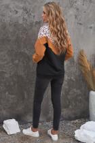 Czarna bluza Chevron Leopard Colorblock z suwakiem XNUMX/XNUMX