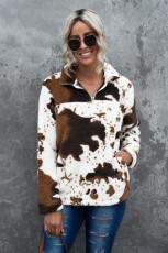 Fermuar Yaka İnek Baskı Polar Sweatshirt