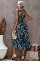 Vihreä kukka painettu V-aukko, selkä hihaton Maxi-mekko