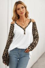 Leopard Bluse mit langen Ärmeln und V-Ausschnitt