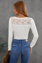 Biała koronkowa bluzka henley zapinana z tyłu