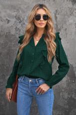 Vihreä pilkullinen tekstuuri pelkkä röyhelö kuplapaita