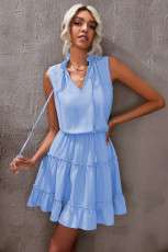 Sky Blue Sleeveless V Neck Ruffled Swing Mini Dress