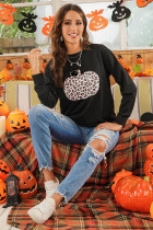 ハロウィンアニマルプリントパンプキングラフィックブラックスウェットシャツ