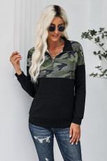 Camo Splice Svart Kangaroo Ficka Zip Collar Sweatshirt