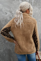 Bluza Sherpa w kolorze khaki z dekoltem w szpic Leopard Splicing