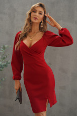 Red Wrapped Bodice Bubble Sleeve Bodycon Mini-klänning med slits
