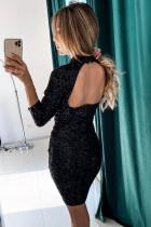 Kleid mit Stehkragen und ausgehöhltem Rücken mit Pailletten