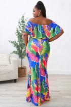 Plus Size Tropical Palms Meerjungfrau Kleid