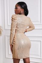 Μίνι φόρεμα Gold Sequin Deep V Neck Μακρυμάνικο