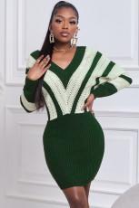 Vestito maglione scava fuori colorblock verde