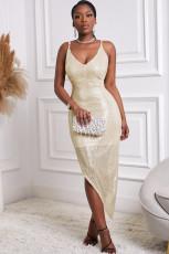 Φόρεμα Sequin με χρυσό V λαιμόκοψη