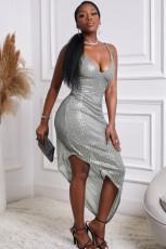 Ασημένιο φόρεμα Sequin Body με λαιμόκοψη