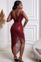Κόκκινο V λαιμόκοψη Bodycon Sequin Φόρεμα
